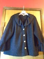 BEYOND THREADS Black Long Sleeve Sweater Alpaca Wool Size Large