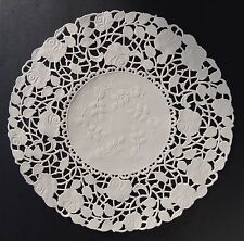 "50 -  8"" Off White ROSE FLORAL Lace Paper Doilies 