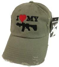 I Love My AR-15 Pistol Hat Cap American 5.56 2.23 second amendment Olive Green