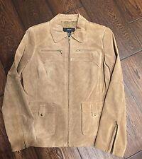Awesome Women's Alfani 100% Genuine Leather Suede Jacket Beige/camel Size M
