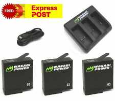 Wasabi Power 1220mAh Battery (3 Pack) & Triple USB Charger for GoPro HERO7 Black