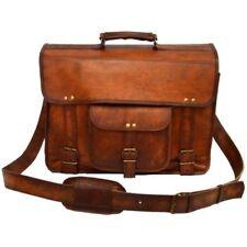 True Leather Goat Laptop Bag Briefcase Messenger Shoulder Vintage Brown New Real