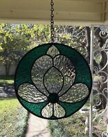 """Stained Glass Window Suncatcher - Victorian Flower - Emerald - 9"""" Round Circle"""
