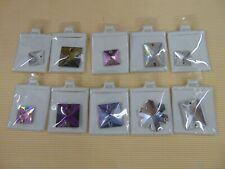 Faceted Sew On Rhinestones LOT OF 10 Squares, Rectangles, Snowflake
