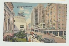 Walgreen Drugs Sign, Flagler Street Looking West,  Miami,  FL, Linen Postcard