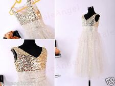 Cute Gold A-line sequins and tulle flower girl dress,Baby girl party dress