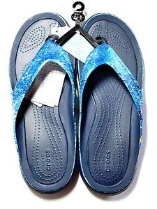 CROCS Swiftwater Mossy Oak Coastal Wave Flip Flop Sandals NEW Size 11
