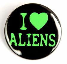 """I LOVE ALIENS - Button Pinback Badge 1.5"""" UFO Sci-Fi Black"""