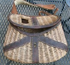 Vintage wicker and leather trout fishing creel