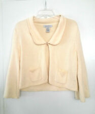 NINE WEST Cardigan Sweater Yellow Fish Hook Closure 3/4 Sleeve Women's Size L