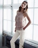 H&M EXCLUSIVE CONSCIOUS COLLECTION PLEATED PINK TIER TOP UK 12 US 8 EUR 38 BNWT