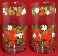 "Vintage 2 Libbey Strawberry Blossoms Pattern Drinking Glasses Tumblers 5"" RARE"