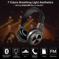 Wireless Headphones Bluetooth Headset Foldable LED Stereo Over Ear Earphones New