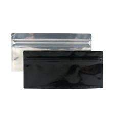 Black Barrier Bag Mylar #1 Heat Seal Package Food Storage Clear Front 100 Count