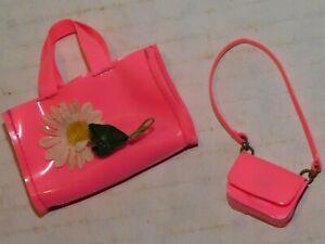 Vintage 1960's Barbie Francie Pink Purse Shoulder Strap Hand Bag Lot of 2