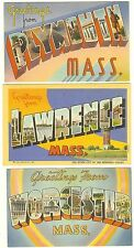 Plymouth Lawrence Worcester 3 vtg Postcards large letter linen c 1940's