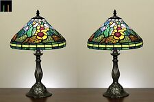 Pair-Tiffany Sun Flower Style Stained Glass Table Lamp Light Leadlight Art Decor