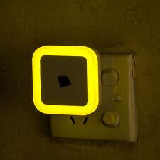 Yellow Auto LED Induction Sensor Control Bedroom Night Light Bed Lamp US Plug