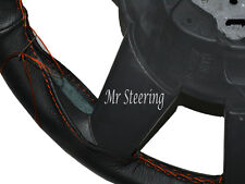 Pour PEUGEOT 406 (95-04) cuir noir véritable Couverture volant orange Stitch