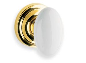 Omnia Porcelain Oval Dummy Door Knob Polished Brass Rose 412 00B SD1 US3 White