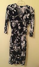 Talbots Wrap Dress Womens Size 2 Petite 2P Surplice Belted Black & White Floral