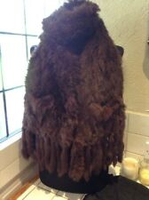 Brown Fur Scarf With Fringe And Pockets Approx 28 X 178 cm Inc Fringe