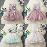 Fancy Kids Baby Girl Flower Dress Lace Tutu Party Gown Pageant Dress Sundress