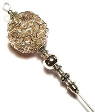 "6"" Silver Hat Pin Antique Vintage Style Silver Wire Bead Hatpin"