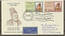 PAKISTAN TO GERMANY SG 274/5 POET MIRZA GHALIB FDC + MNH + USED SET (2 scans).