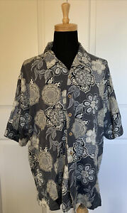 JOSEPH FEISS Men's Gray Silk Hawaiian Floral Shirt Sz 3X