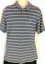 Men's Polo by Izod, Gray and White Striped, Size XL EUC