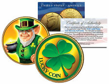 LEPRECHAUN *Four Leaf Clover* JFK Half $ 24K Gold Plated LUCKY COIN St Patrick's