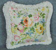 "Ralph Lauren Home Lake White Pastel Floral Fabric Custom Pillow 16"" trim fringe"