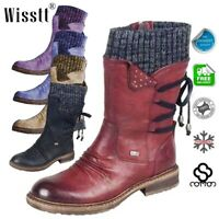 Winter Women's Snow Fur Lined Lace Up Warm Flat Flat Ankle Boots Round Toe Shoes