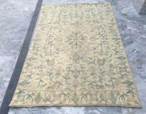 Vintage Handmade Aubusson Rug Needle Point Oriental Wool Kilim Area Rug 3x5