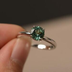 2Ct Round Cut Alexandrite Diamond Women's Engagement Ring 14K White Gold Finish