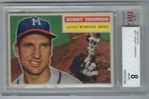 BOBBY THOMSON 1956 TOPPS #257 MILWAUKEE BRAVES BVG 8 NM-MT