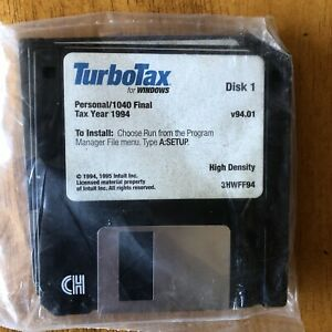 RARE Intuit TurboTax For Windows 1994 4 Floppy Disk Set Personal 1040 NOS