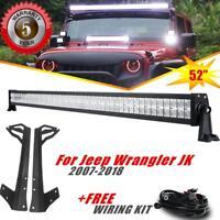 "52"" 700W CREE LED Work Light Bar Flood Spot + Mount Bracket For Jeep Wrangler JK"