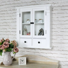White painted glass bathroom cabinet cupboard display vintage furniture storage