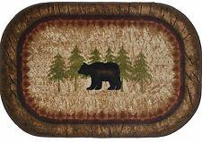 30X46 Kitchen Rug Lodge Cabin Birch Bear Black Brown Beige Mat Washable Accent
