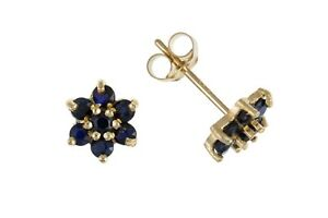Real Sapphire Cluster Earrings Solid Gold Studs 9 Carat