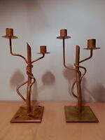 Paire bougeoir métal doré 2 bras lumiere flambeau chandelier candelabre