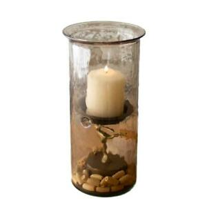 Smoked Glass Hurricane Rustic Pillar Candle Holder Large 12 Inch Tall Textured