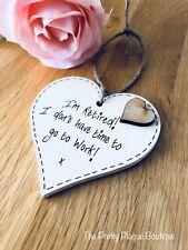 Personalised Retirement Plaque Wooden Heart Gift Colleague Goodluck keepsake