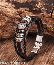 G05 Cool Cross Studded Men's Leather Bracelet Wristband Cuff Metal Clasp BLACK
