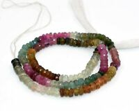 "13"" AA++ NATURAL MULTI TOURMALINE RONDELLE FACETED GEMSTONE LOOSE BEADS 3-4 MM,"