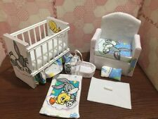 Barbie Baby Nursery Set Furniture Crib,Sofa ,Carrier.Baby Looney Tunes