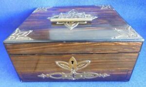 Victorian Vanity Dressing Case Coromandel Wood c1850 Brass Mounted Box