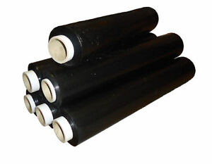 Extra Strong Black Pallet Stretch Shrink Wrap Film  500mm x 250m 25mu x 4 Rolls
